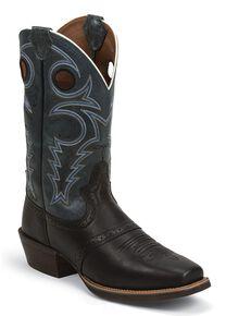 Justin Silver Punchy Saddle Vamp Cowboy Boots - Square Toe, Black, hi-res