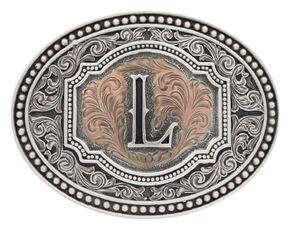 "Montana Silversmiths Men's Initial ""L"" Two-Tone Attitude Belt Buckle, Silver, hi-res"