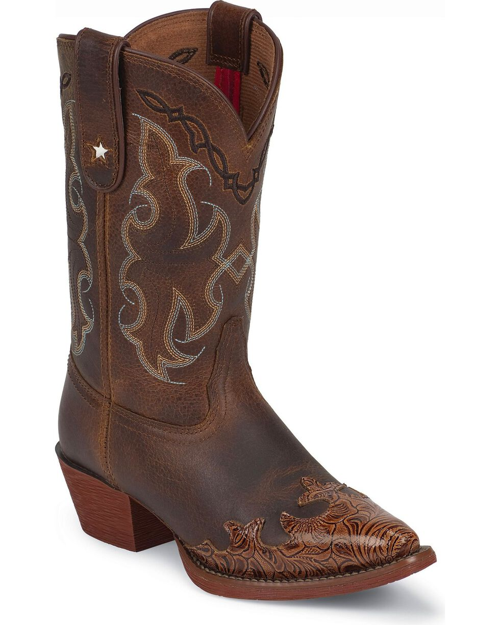 Tony Lama Youth Girls' Tiny Lama Vaquero Savannah Cowboy Boots - Pointed Toe, Tan, hi-res
