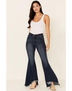 Grace in LA Women's Pleated Super Flare Leg Jeans, Medium Blue, hi-res