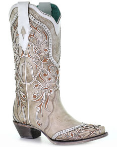 Corral Women's White Overlay & Studs Western Boots - Snip Toe, White, hi-res