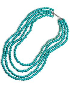 Montana Silversmiths Women's Layered Turquoise Bead Necklace, Turquoise, hi-res