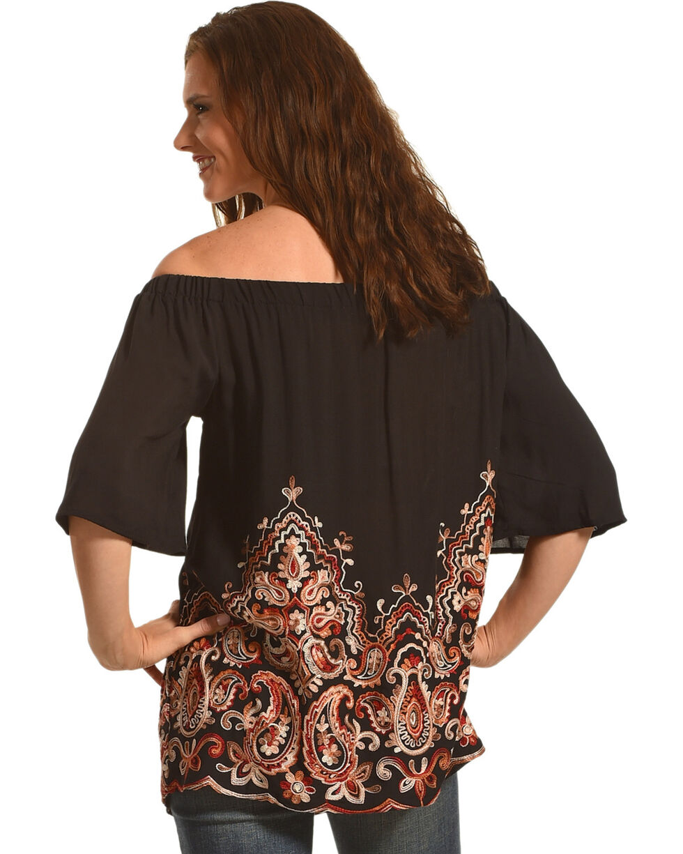 Miss Me Women's Black Embroidered Off The Shoulder Top , Black, hi-res
