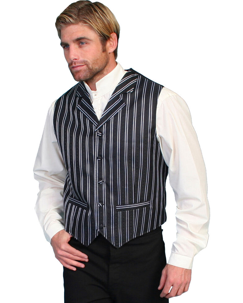 Rangewear by Scully Double Pinstripe Vest - Big & Tall, Black, hi-res