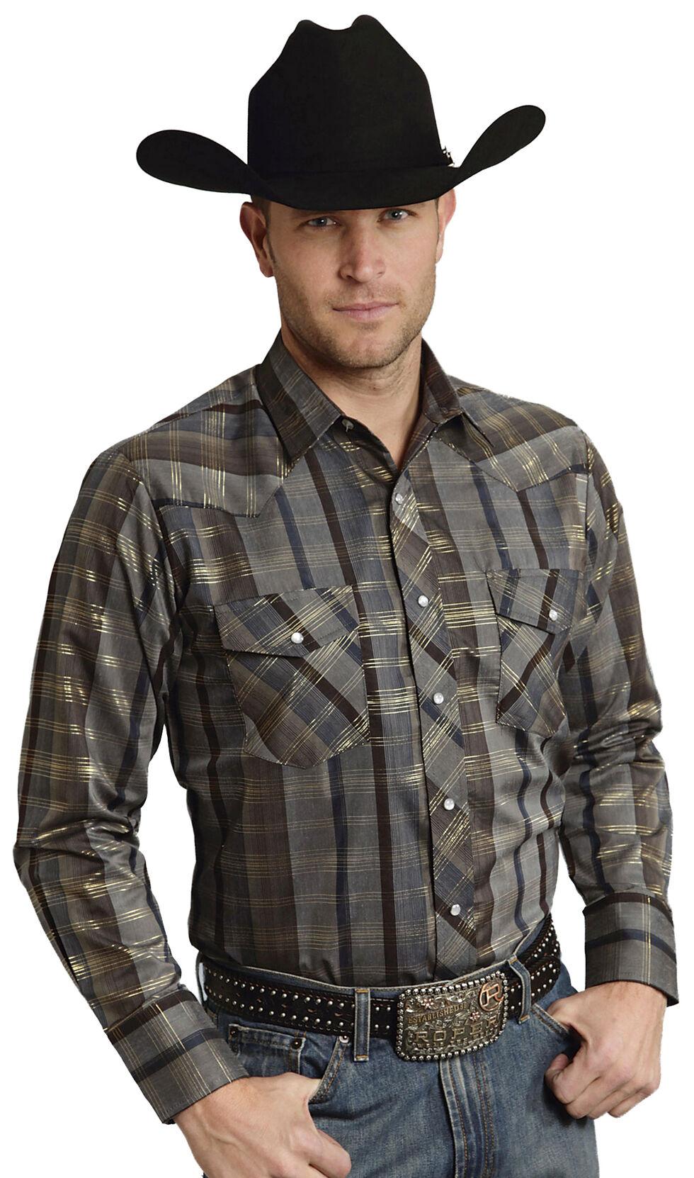 Roper Men's Brown Snap Gold Stripe Lurex Western Shirt, Brown, hi-res