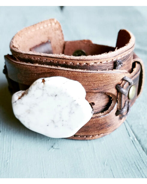 Jewelry Junkie Women's White Turquoise Dusty Leather Cuff Bracelet, White, hi-res