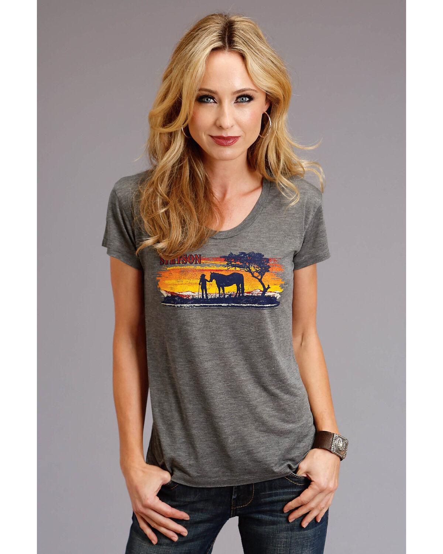 Miss Me Womens Sunset Graphic Tee Shirt