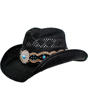 Peter Grimm Women's Black Alonzo Cowgirl Hat, Black, hi-res