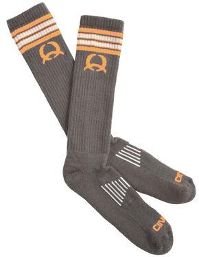 Cinch Men's Grey and Orange Boot Socks, Charcoal Grey, hi-res
