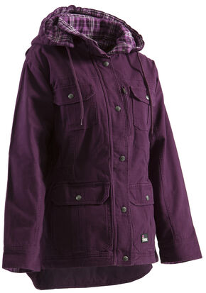Berne Women's Quilted Flannel-Lined Washed Barn Coat - 3XL and 4XL, Plum, hi-res