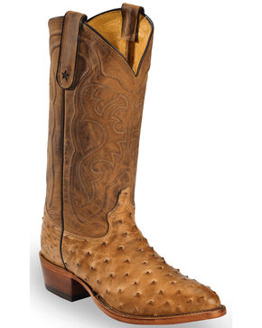 Tony Lama Antique Tan Full Quill Ostrich Cowboy Boots - Medium Toe, Antique Tan, hi-res