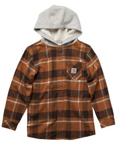 Carhartt Boys' Brown Plaid Long Sleeve Hooded Flannel Shirt, Brown, hi-res