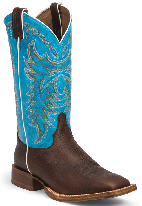 Justin Whiskey Brown Grit Stampede CPX Cowboy Boots - Square Toe , Whiskey, hi-res