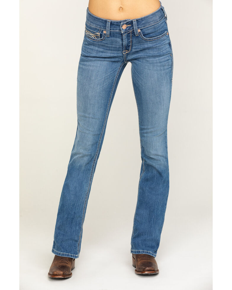 Ariat Women's R.E.A.L. Crossroads Stitch Boot Jeans , Blue, hi-res