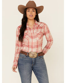 Wrangler Women's Rose Cream Plaid Overlay Long Sleeve Western Core Shirt , Rose, hi-res