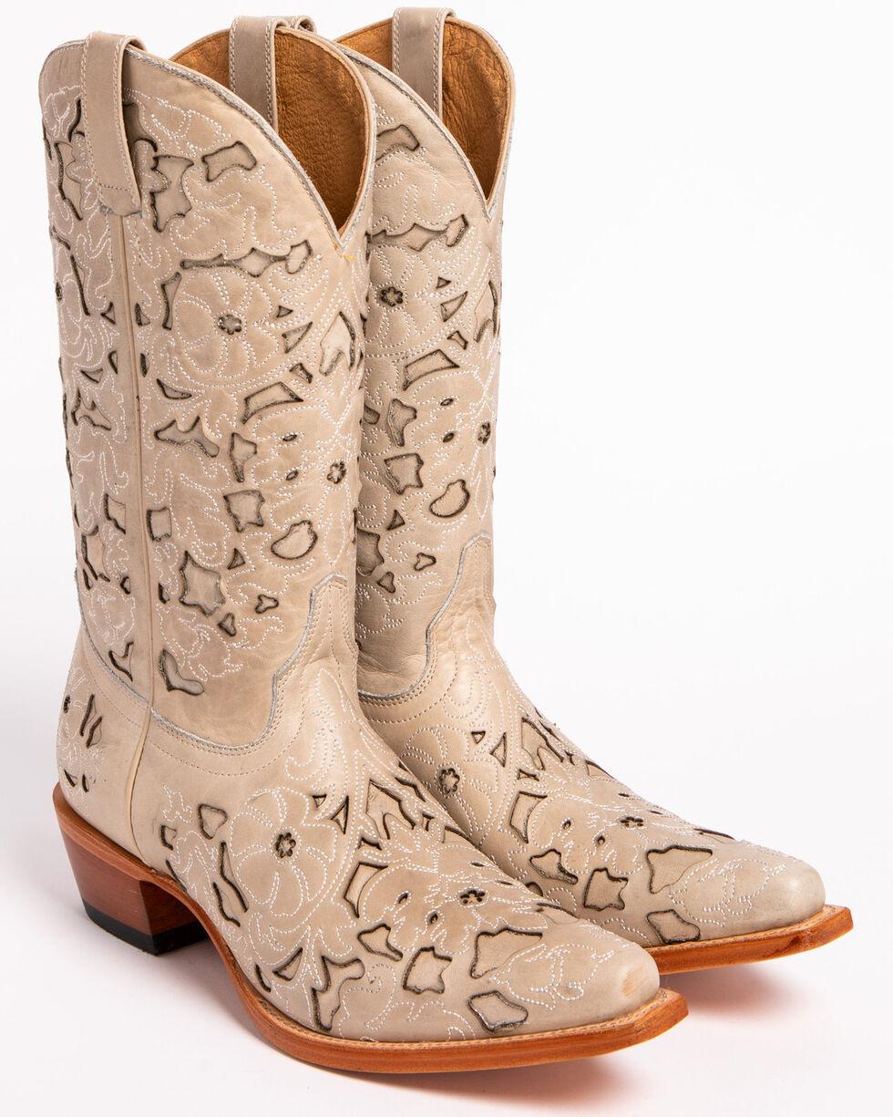 Shyanne Women's White Laser Cut Western Boots - Snip Toe, White, hi-res