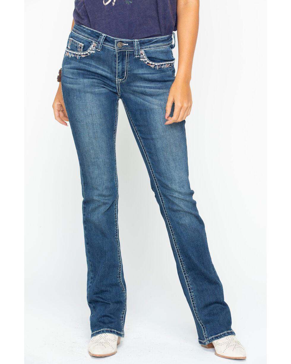 Shyanne Women's Rhinestone Stitched Jeans - Boot Cut, Blue, hi-res