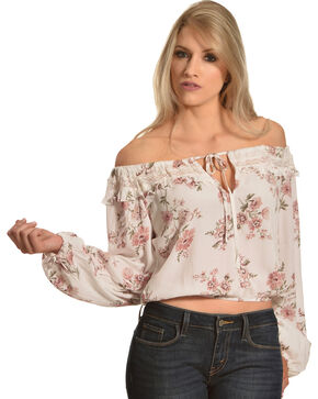 Sage The Label Women's Floral Print Ruffle Neck Top, Multi, hi-res
