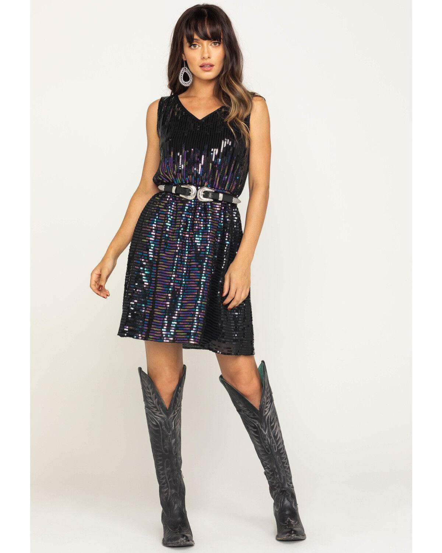 Black Sequin Fit \u0026 Flare Dress | Sheplers