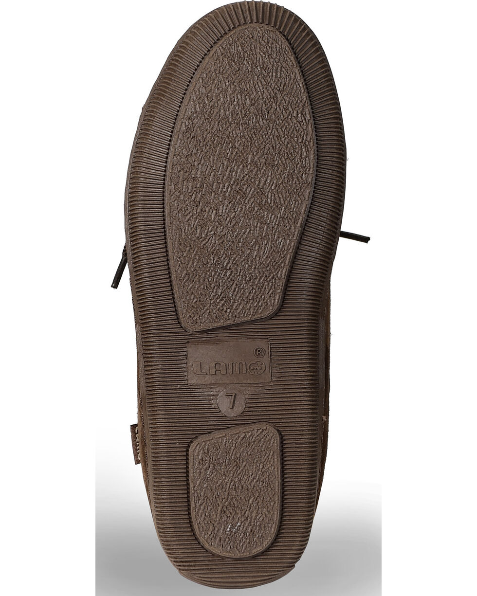 Lamo Women's Leather Moccasin Slippers, Chocolate, hi-res