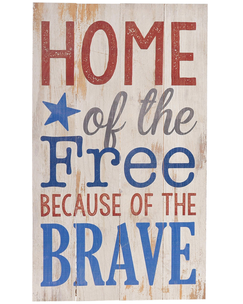 P. Graham Dunn White Home Of The Free Wall Sign , White, hi-res