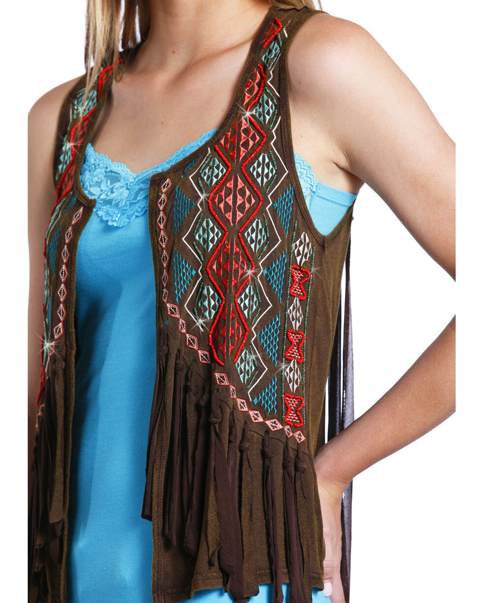 Rock & Roll Cowgirl Women's Chocolate Embroidered Fringe Vest , Chocolate, hi-res