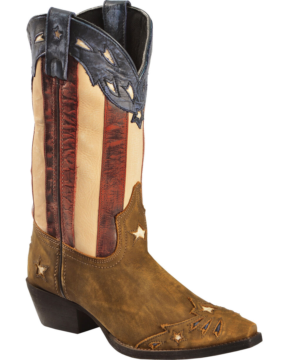 Laredo Women's Keyes Stars & Stripes Cowgirl Boots - Snip Toe, Tan, hi-res