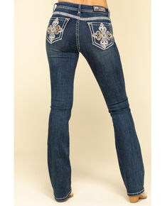 "Grace in LA Women's Dark Embellished Cross 34"" Bootcut Jeans, Blue, hi-res"