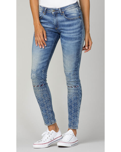MM Vintage Women's Indigo Embroidered Jeans - Skinny , Indigo, hi-res