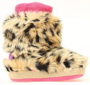 Blazin Roxx Infant Girls' Leopard Print Faux Fur Slippers, Brown, hi-res