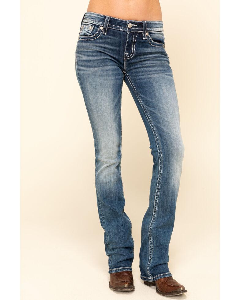 Miss Me Women's Medium Flower Studded Angel Wing Slim Bootcut Jeans, Blue, hi-res