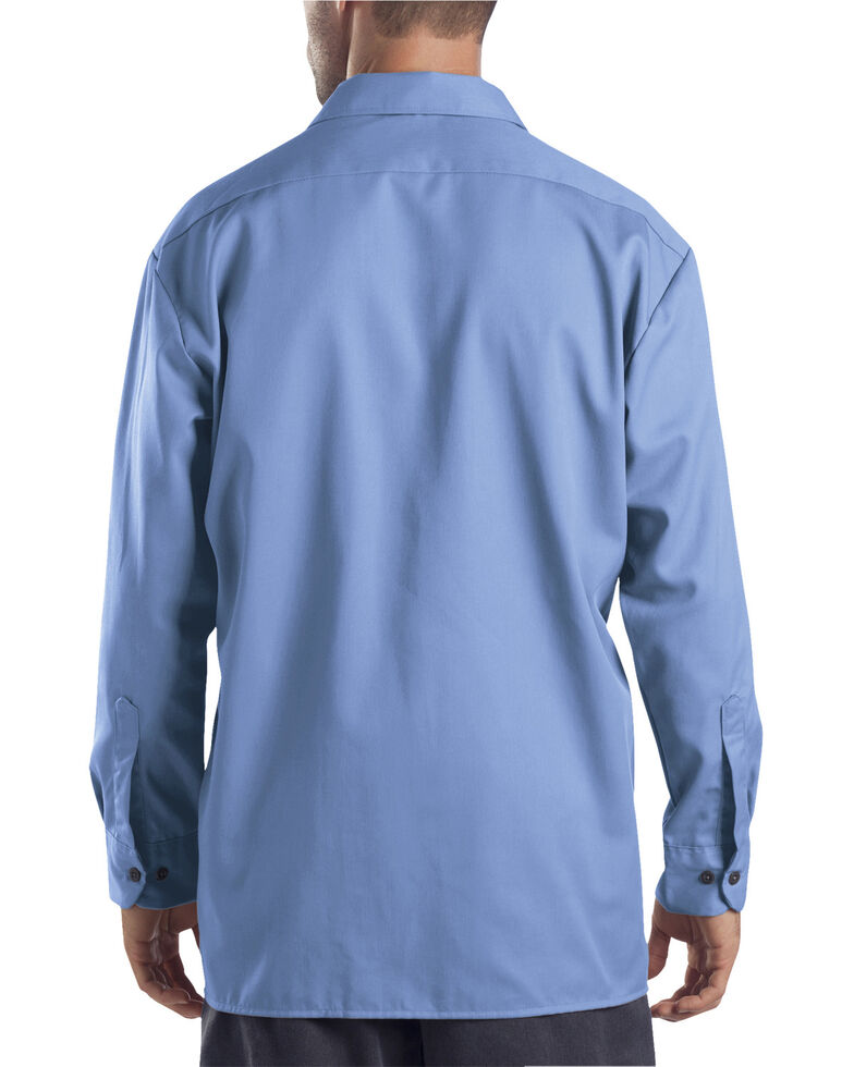 Dickies Men's Solid Twill Button Long Sleeve Work Shirt, Blue, hi-res