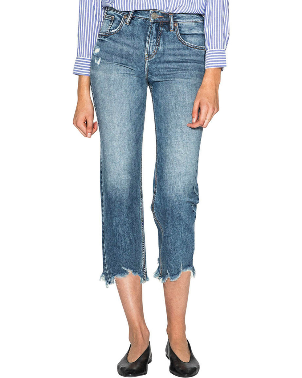 Silver Women's Wide Leg Crop Jeans, Indigo, hi-res