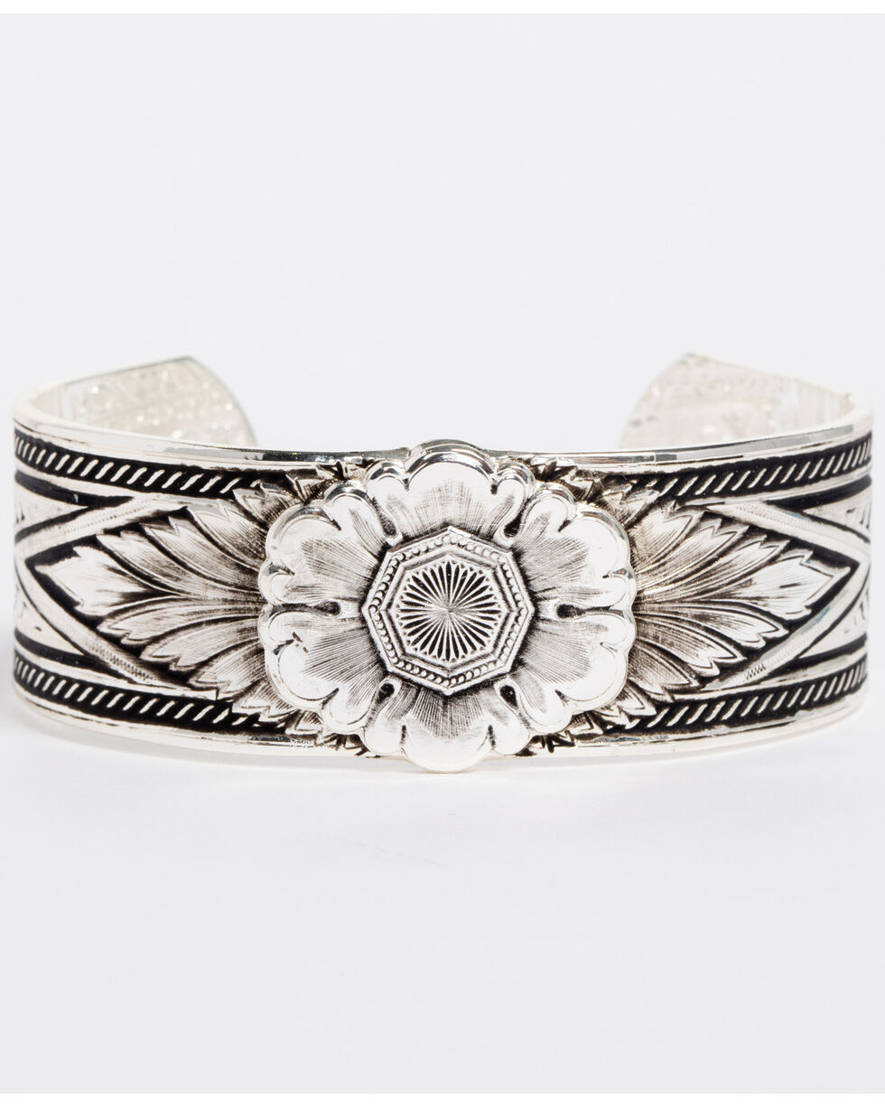 Montana Silversmiths Women's Silver Carved Peony Cuff Bracelet , Silver, hi-res
