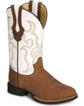 Smoky Mountain Youth Showdown Cowboy Boots - Round Toe , Distressed, hi-res