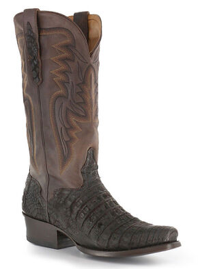 El Dorado Handmade Chocolate Caiman Belly Cowboy Boots - Square Toe, Chocolate, hi-res