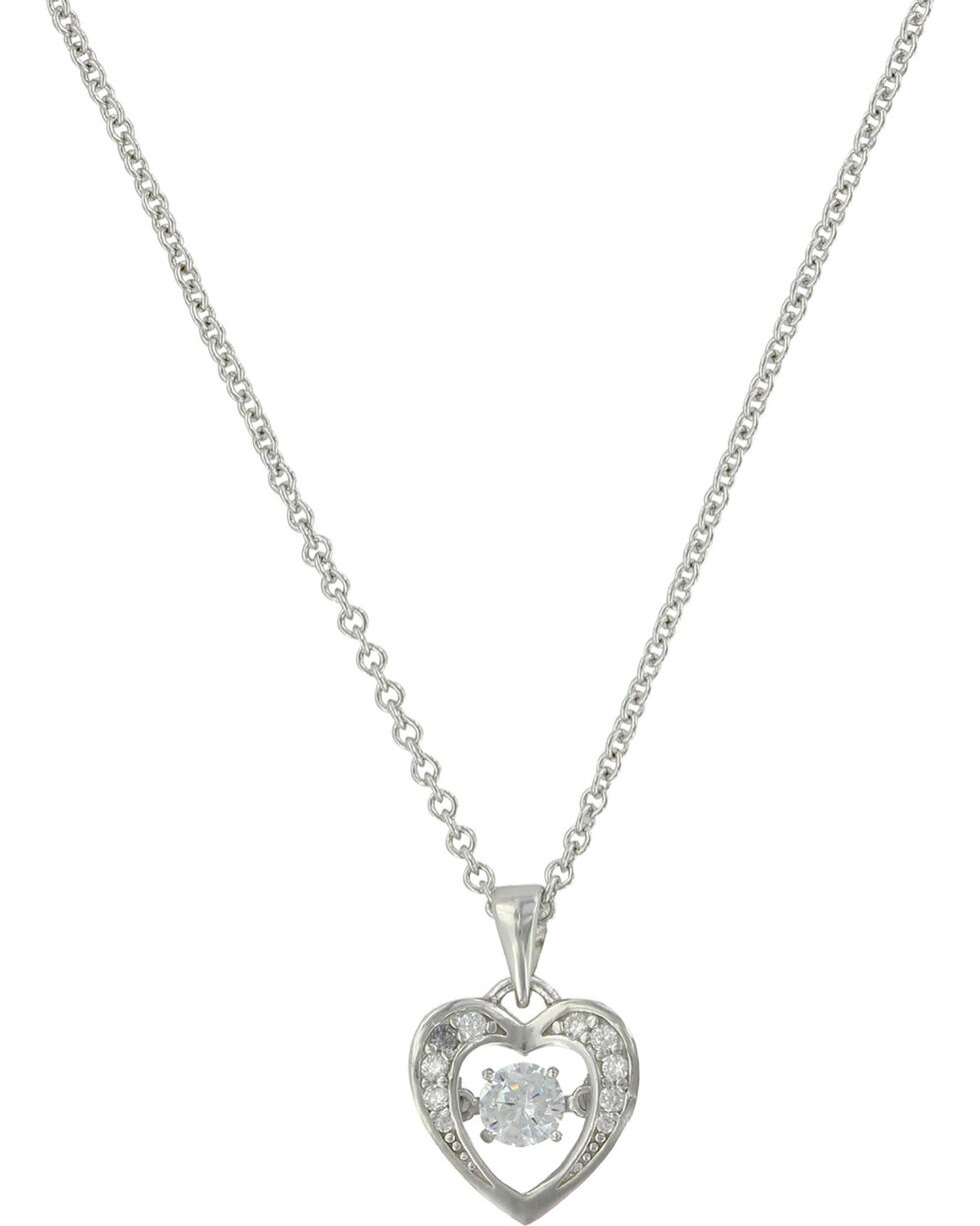 Montana Silversmiths Women's Let's Dance A Little Dance Heart Necklace , Silver, hi-res