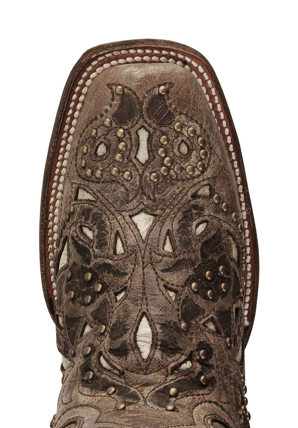 Corral Studded Bone Inlay Crater Cowgirl Boots - Square Toe, Brown, hi-res