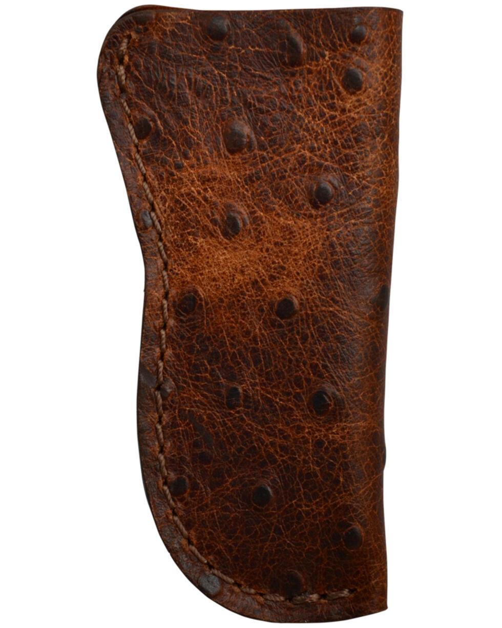 3D Men's Ostrich Print Leather Large Knife Holder, Brown, hi-res