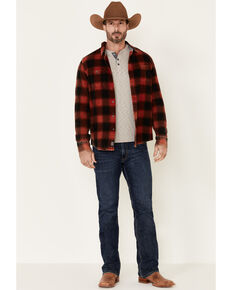 Flag & Anthem Men's Shaw Vintage Washed Plaid Long Sleeve Western Flannel Shirt , Dark Red, hi-res