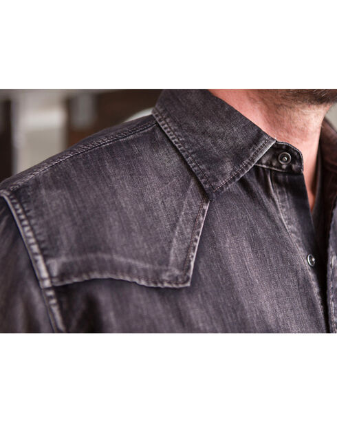 Ryan Michael Men's Black Denim Shirt , Black, hi-res