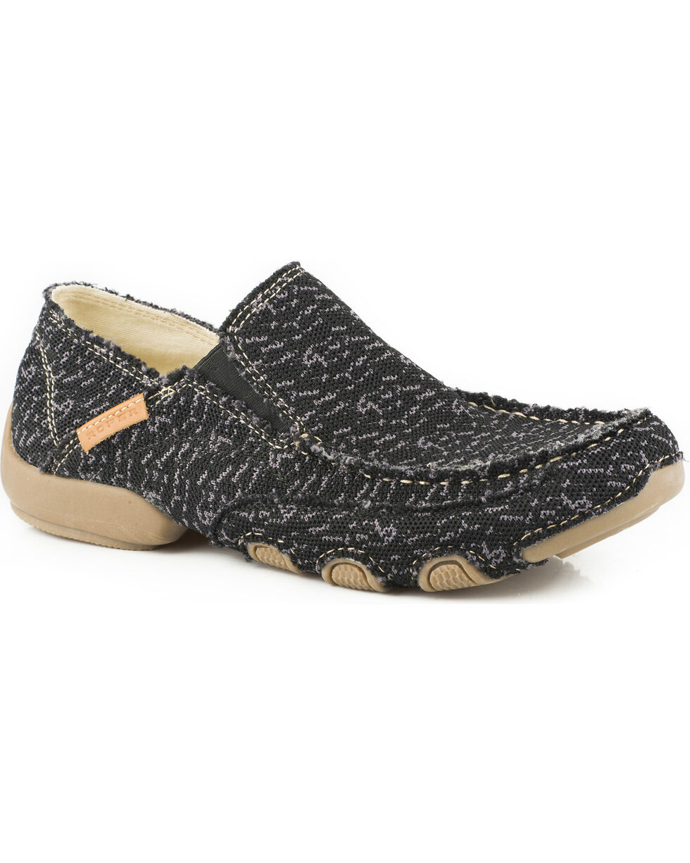 Roper Men's Black Dougie Casual Driving Moc Shoes , , hi-res