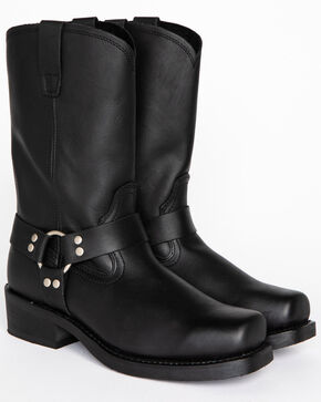 Cody James Men's Black Harness Boots - Square Toe, Black, hi-res