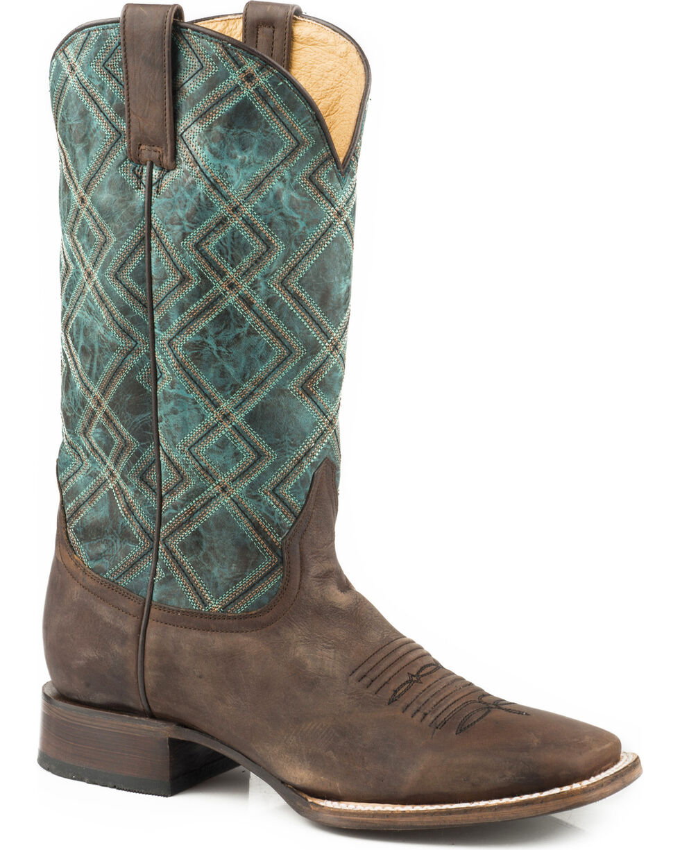 Roper Men's Nash Turquoise Geo Embroidered Cowboy Boots - Square Toe, , hi-res