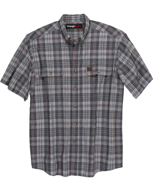 Wrangler Men's Charcoal Riggs Workwear Foreman Plaid Work Shirt , Charcoal, hi-res