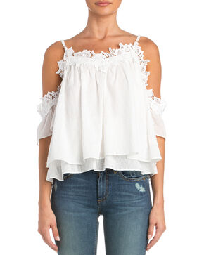 Miss Me Women's So Sweet Open Shoulder Top, White, hi-res