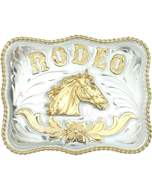 Western Express Men's Rodeo Horsehead German Silver Belt Buckle , Silver, hi-res