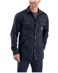 Carhartt Men's Solid Navy Ripstop Flannel-Lined Snap-Front Work Shirt Jacket , Navy, hi-res