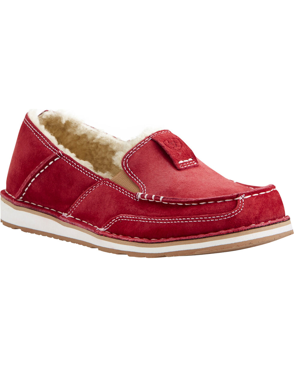 Ariat Women's Red Fleece Cruiser Shoes - Moc Toe, Red, hi-res
