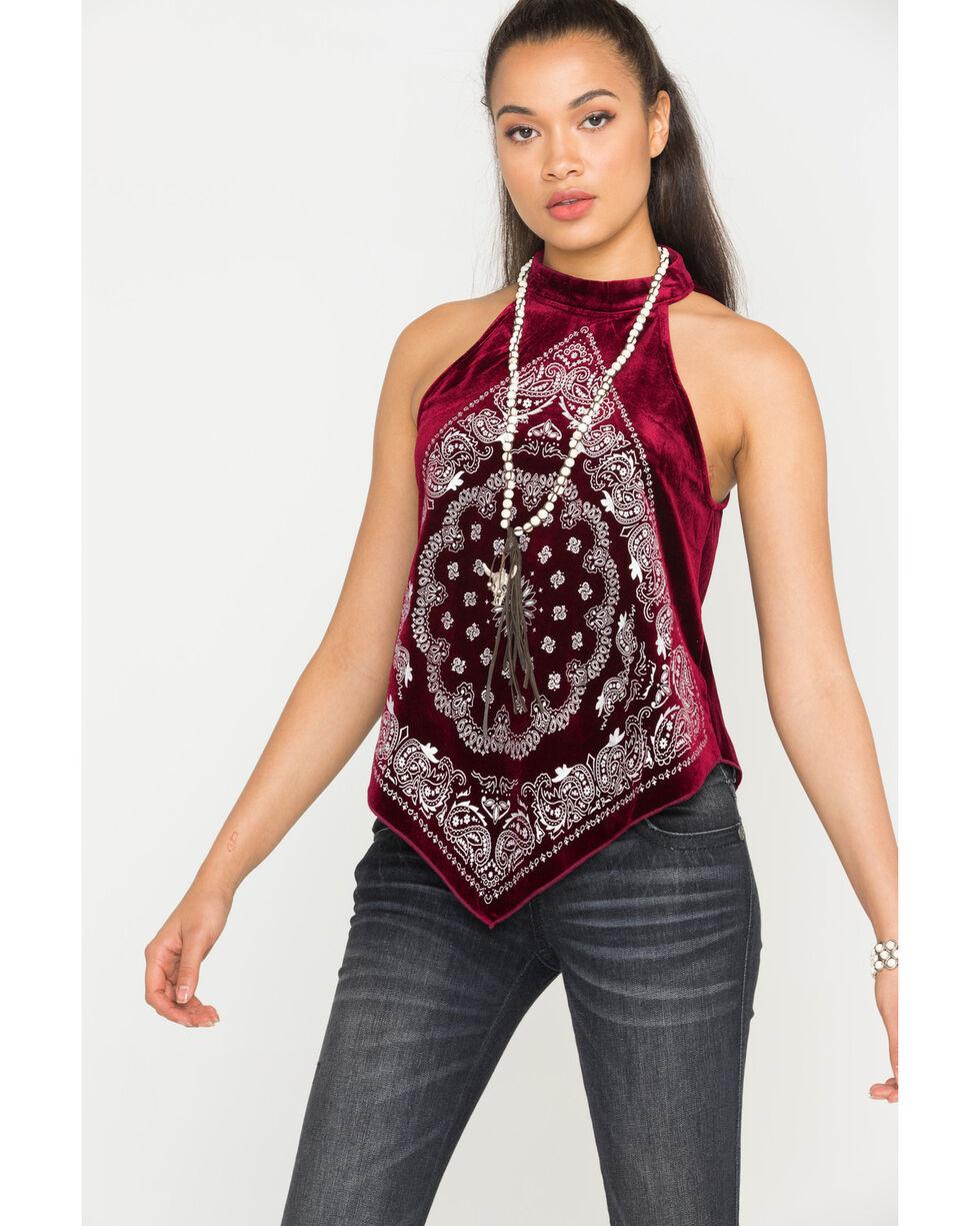 Shyanne Women's Velvet Choker Bandana Print Top, Burgundy, hi-res